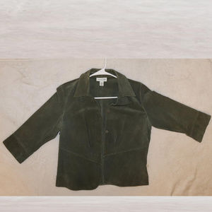 Coldwater Creek GREEN SNAP BUTTON Leather Jacket